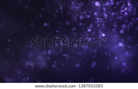 Dark purple sparkle and mini many glitters falling and float from right scene to left scene on dark background #1387053383
