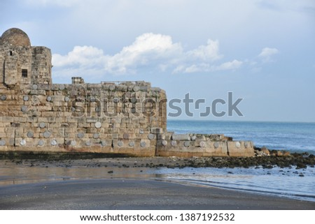 Sidon Crusader Castle Right Detail with Mediterranean Sea #1387192532