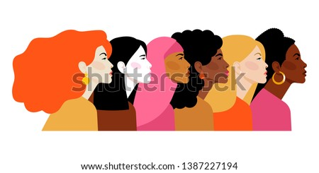 Multi-ethnic beauty. Different ethnicity women: African, Asian, Chinese, European, Latin American, Arab. Women different nationalities and cultures. The struggle for rights, independence, equality. Royalty-Free Stock Photo #1387227194