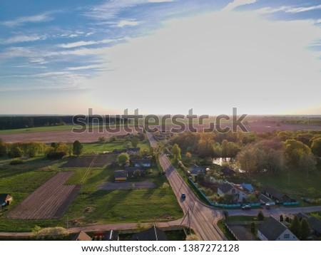 Aerial view of Belarus countryside in spring  #1387272128