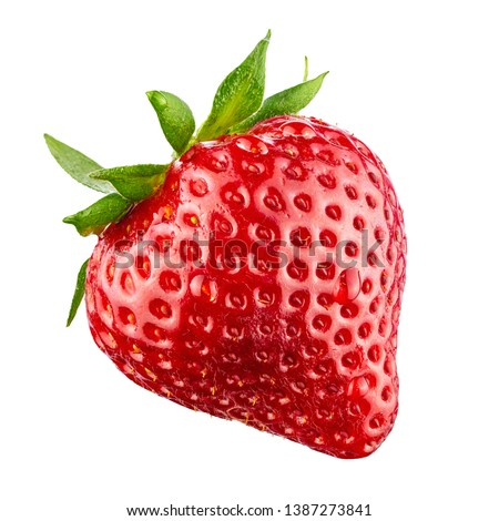 Red berry strawberry isolated on white background. 100 percent sharpness. #1387273841