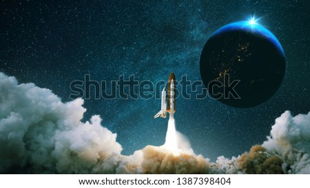 Rocket takes off into space with the planet. Spacecraft performs the space mission. Ship takes off into the starry sky. #1387398404