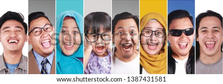 Photo collage of smiling laughing Asian people. Happiness concept, facial expression. Five males in this image are 3 person, one person appears three times #1387431581