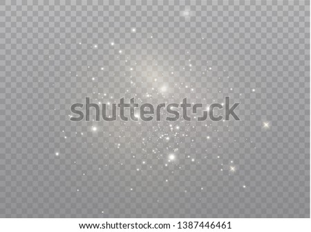 The dust sparks and golden stars shine with special light. Vector sparkles on a transparent background. Christmas light effect. Sparkling magical dust particles. #1387446461