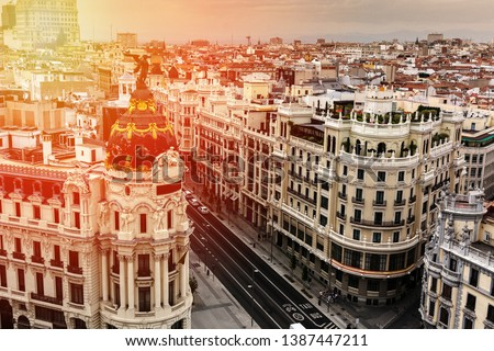 Panoramic aerial view of Gran Via, main shopping street in Madrid, capital of Spain, Europe #1387447211
