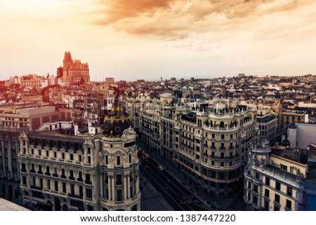 Panoramic aerial view of Gran Via, main shopping street in Madrid, capital of Spain, Europe #1387447220