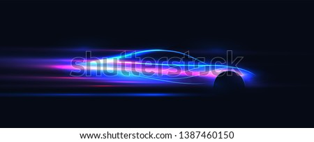 Side view neon glowing sport car silhouette. Abstract modern styled vector illustration. Royalty-Free Stock Photo #1387460150