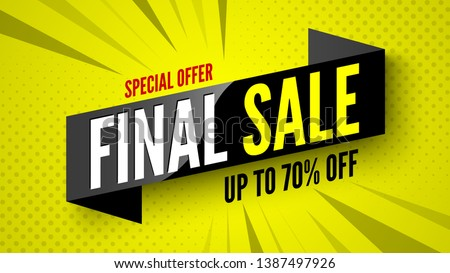 Special offer final sale banner, up to 70% off. Vector illustration. #1387497926