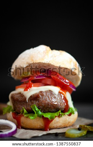 Homemade hamburger on a rustic background #1387550837