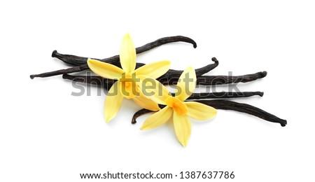 Aromatic vanilla sticks and flowers on white background #1387637786
