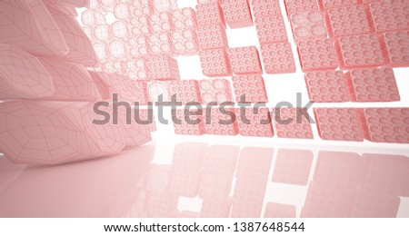 Abstract drawing white parametric interior multilevel public space with window. 3D illustration and rendering. #1387648544