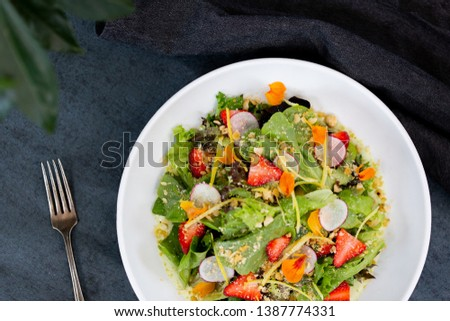 Mixed Lettuces Salad with Strawberries #1387774331