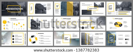 Presentation template, orange and black infographic elements on white background.  Vector slide template for business project presentations and marketing. #1387782383