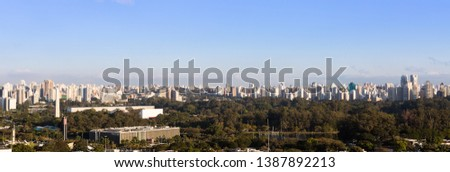Panoramic view of the city of Sao Paulo with the Ibirapuera park and the Legislative Assembly of Sao Paulo in the foreground. #1387892213