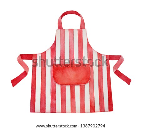 Red and white kitchen apron watercolour illustration. Front view, cozy striped pattern, big blank pocket in center. Handdrawn water color graphic paint, cutout clip art element for design decoration.