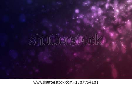 Many mini glitters and flare light floating from side scene on dark purple background #1387954181