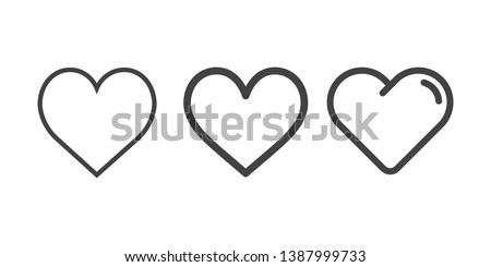 Heart icons, concept of love isolated on white