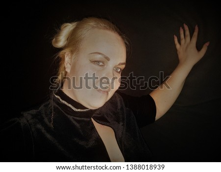 Beautiful plump blonde poses for the camera. Obesity problems close up. #1388018939