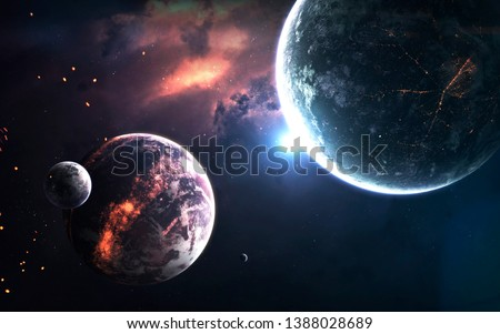 Deep space planets, science fiction imagination of cosmos landscape. Elements of this image furnished by NASA #1388028689