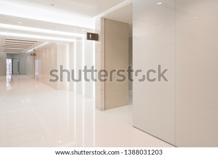 Bathroom interior space in shopping mall