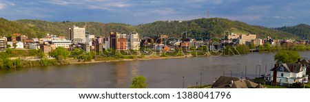 Long panoramic view of the downtown city center of Wheeling West Virginia #1388041796
