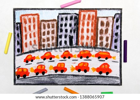 Colorful drawing: Big city and highway. Cars next to blocks of flats