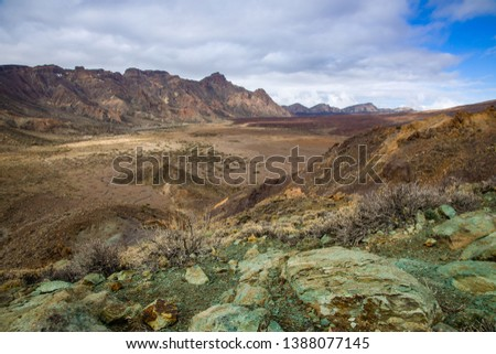 View of the landscape in Teide National Park. Tenerife, Canary Islands, Spain #1388077145