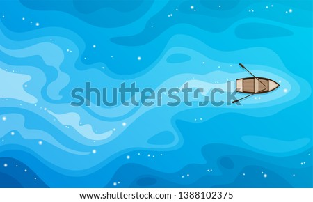 Tropical blue sea top view and a wooden boat vector background. Royalty-Free Stock Photo #1388102375