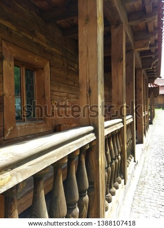 wooden porch, wooden balcony, porch #1388107418