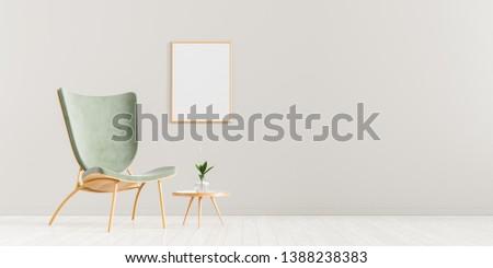 Mock up poster frame in scandinavian style interior. Minimalist interior design. 3D illustration. #1388238383