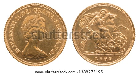 The sovereign is a gold coin of the United Kingdom, with a nominal value of one pound sterling. One of Britain's most famous coins. #1388273195