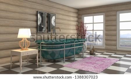 Bathroom interior. 3D illustration. Bath #1388307023