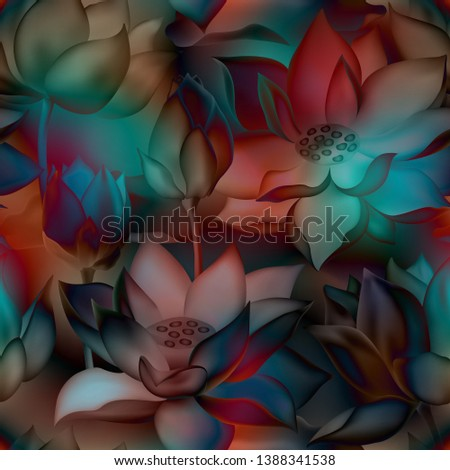 Lotus buds and flowers seamless textile print. Water lilly nelumbo aquatic plant botanical design. Sacred lotus flower blossom, lily buds seamless pattern. Traditional Chinese medicine plant. #1388341538