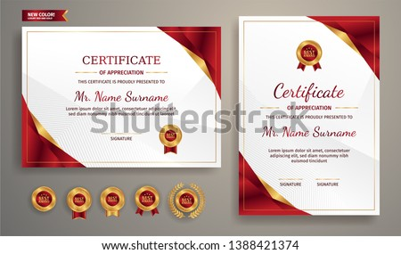 Certificate of appreciation template, gold and red color. Clean modern certificate with gold badge. Certificate border template with luxury and modern line pattern. Diploma vector template #1388421374
