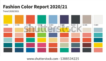 Fashion Color trend 2020-2021. An example of a color palette. Forecast of the future color trend. Royalty-Free Stock Photo #1388534225