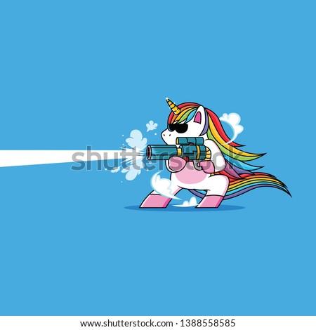 unicorn with a cool gun