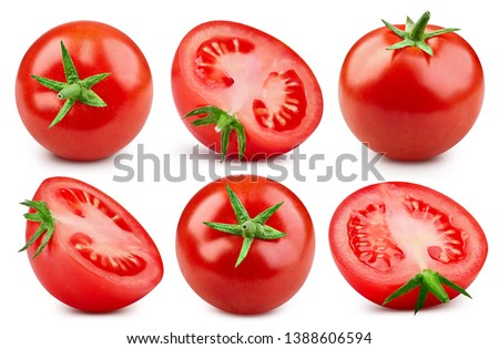 Tomato Collection Clipping Path. Cherry tomato isolated on white background. Professional studio macro shooting. Tomato close up shot #1388606594