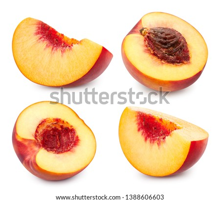 Fresh peach fruits half. Peach isolated on white background. Peach collection Clipping Path. Professional studio macro shooting #1388606603