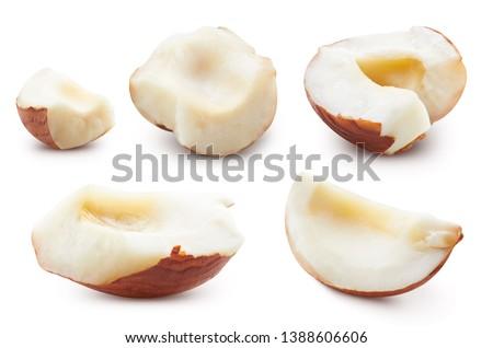Hazelnut section. Hazelnut isolated on white background Clipping Path. Hazelnut Collection Set #1388606606