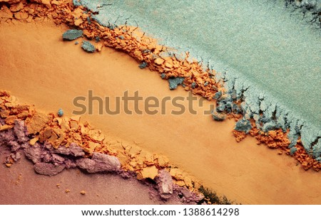 Eye shadow matte multycolored orange pink blue texture black isolated background  #1388614298
