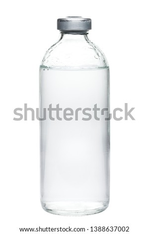 glass bottle sealed with medical fluid in a sterile container isolated on a white background. #1388637002