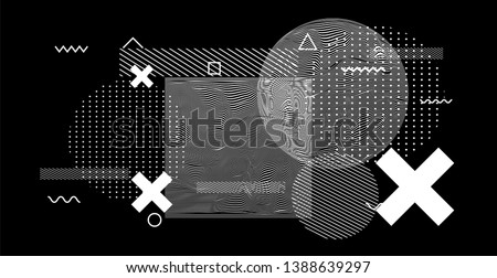 Abstract black and white glitched generative art background with geometric composition. Conceptual sci-fi illustration of high-tech/ cyberpunk technologies of future/ virtual reality. #1388639297