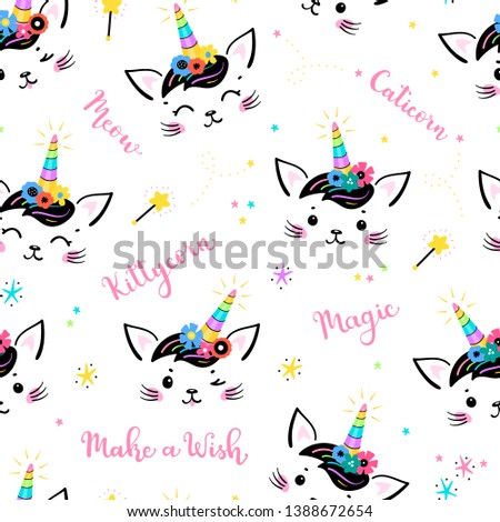 Cute Unicorn Cat Head with Floral Wreath and Lettering Seamless Pattern for Kids. Magic Caticorn, Kittycorn Nursery Wallpaper. Magical Kitten Face with Flower Unicorn Horn and Funny Hair Bangs #1388672654