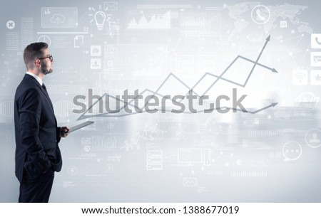 Adviser standing and presenting economical results of a global company #1388677019