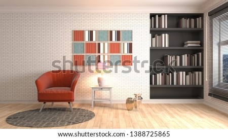 interior with chair. 3d illustration #1388725865