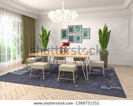 Interior dining area. 3d illustration #1388731352