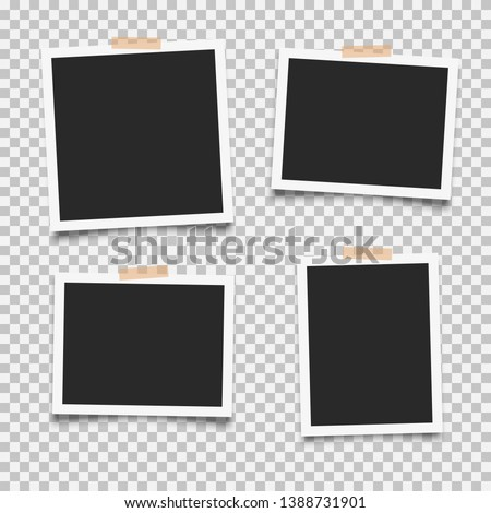 Set of empty photo frames with adhesive tape Royalty-Free Stock Photo #1388731901