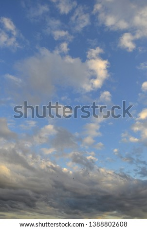 Beautiful eveing sky with clouds, air nature #1388802608