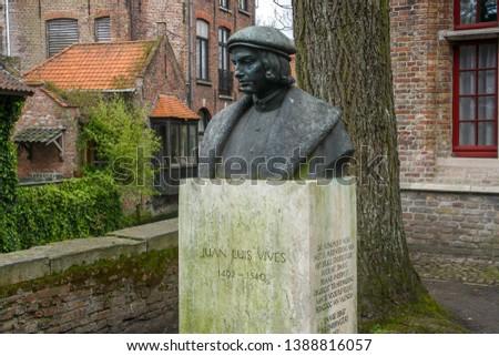 Bruges/Belgium; 04/28/2016. Bust of Juan Luis Vives in Bruges. #1388816057