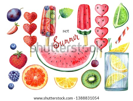 Clip art set with ice cream, watermelon, kiwi, orange, lemon, lime, blueberry, lemonade, strawberry, plam, mint, popsicles. Set with 20 isolated elements on white background hand drawn in watercolor.